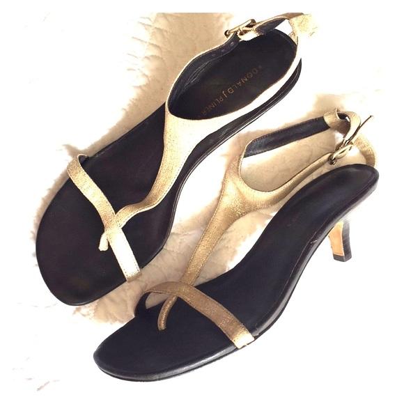 bcfa2d0e6d26 Donald J. Pliner Shoes - DONALD J. PILNER Matte Gold Kitten Heel Sandals